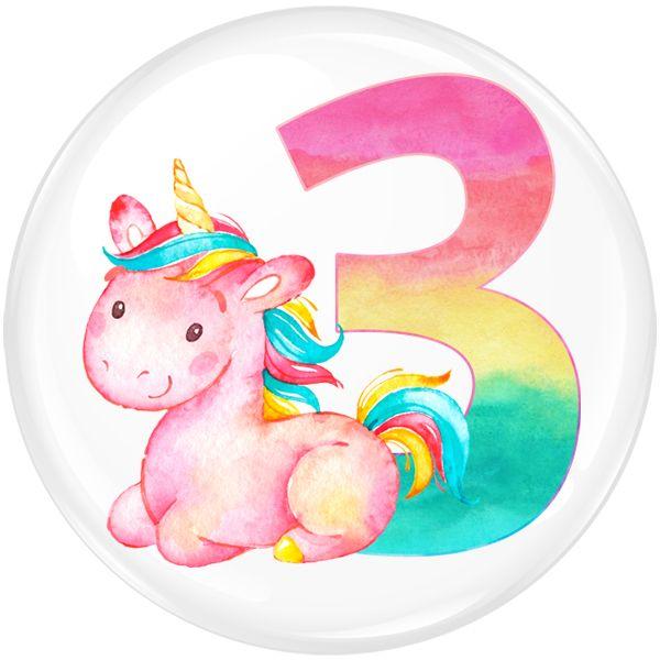 Unicorn 3 Age Birthday Party Badge #323