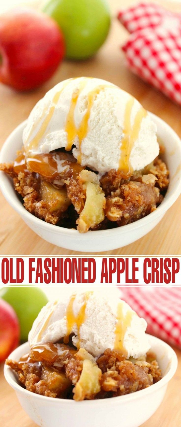 This Old Fashioned Apple Crisp recipe is definitely the best of the best.  Sweet slightly spiced apples topped with an amazing crumble - just like your Grandma always made!