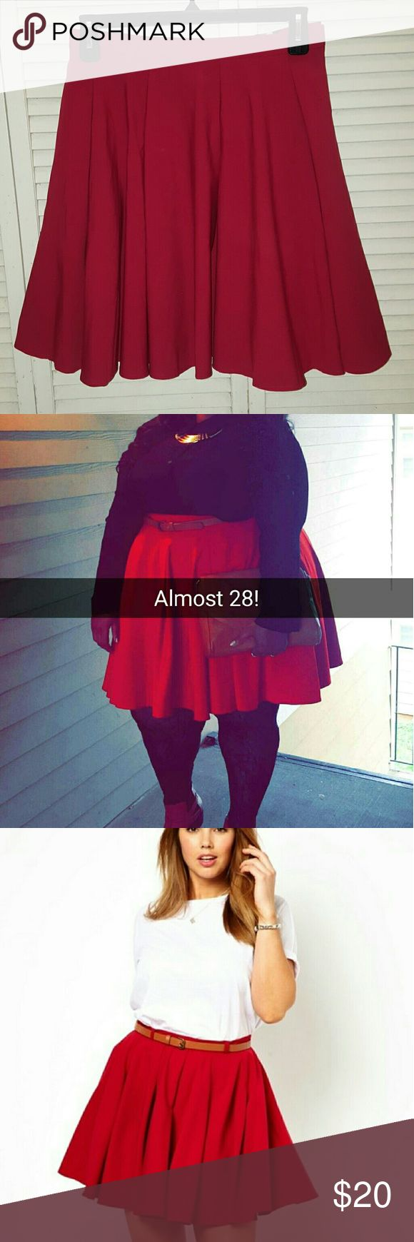 ASOS CURVE RED PLEATED SKIRT Red Pleated Skirt Size 22 *runs big in my opinion felt like a 26* 73% Polyester/21% Viscose/6% Elastane zipper/clasp-back of skirt no belt *worn once for birthday date.* ASOS Curve Skirts Circle & Skater