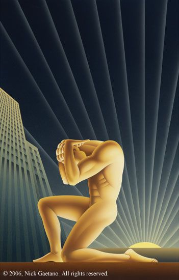 Cover Art by Nick Gaetano for Ayn Rand's 'Atlas Shrugged' | Quen Cordair Fine Art | Art Deco poster design | I'm not a fan of Ayn Rand - personally I think she was out of her goddamn mind, but that doesn't make me like this design any less.