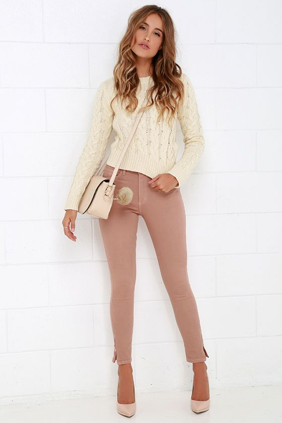 Get a Party Going Dusty Rose High-Waisted Skinny Jeans at Lulus.com!