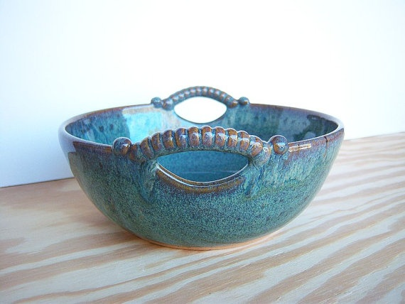 Sea Mist Stoneware Serving Bowl Two Handles by dorothydomingo, $40.00