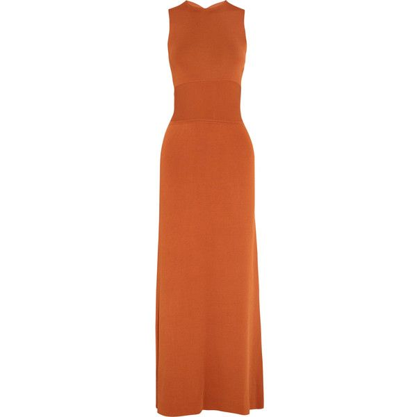 Iris and Ink Cutout stretch-knit maxi dress ($140) ❤ liked on Polyvore featuring dresses, camel, cocktail maxi dresses, evening dresses, holiday maxi dresses, orange cocktail dress and orange dress