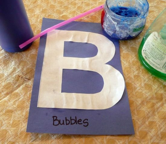 Bubble Painting as a letter b activity. What could be more fun? Includes tips for making successful bubbles and a LETTER B PRINTABLE.