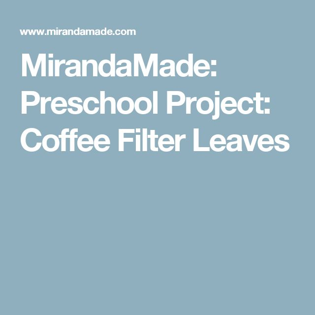MirandaMade: Preschool Project: Coffee Filter Leaves
