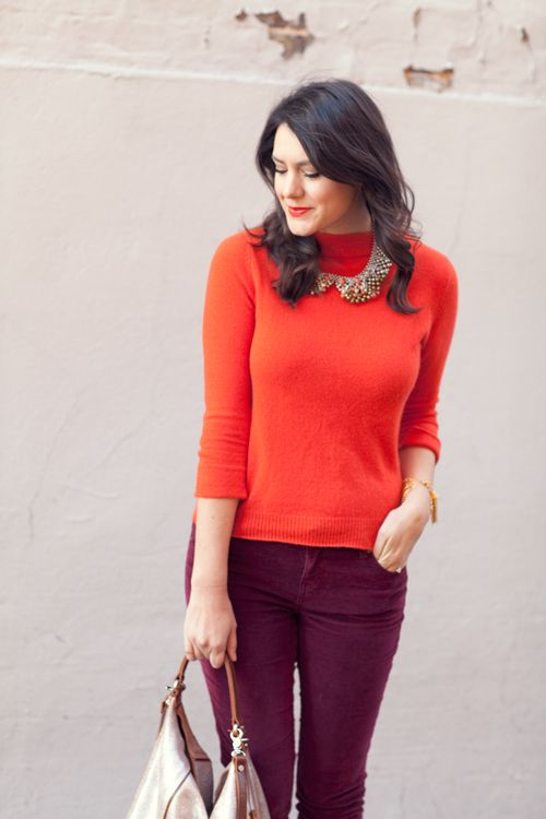 red sweater and wine pants