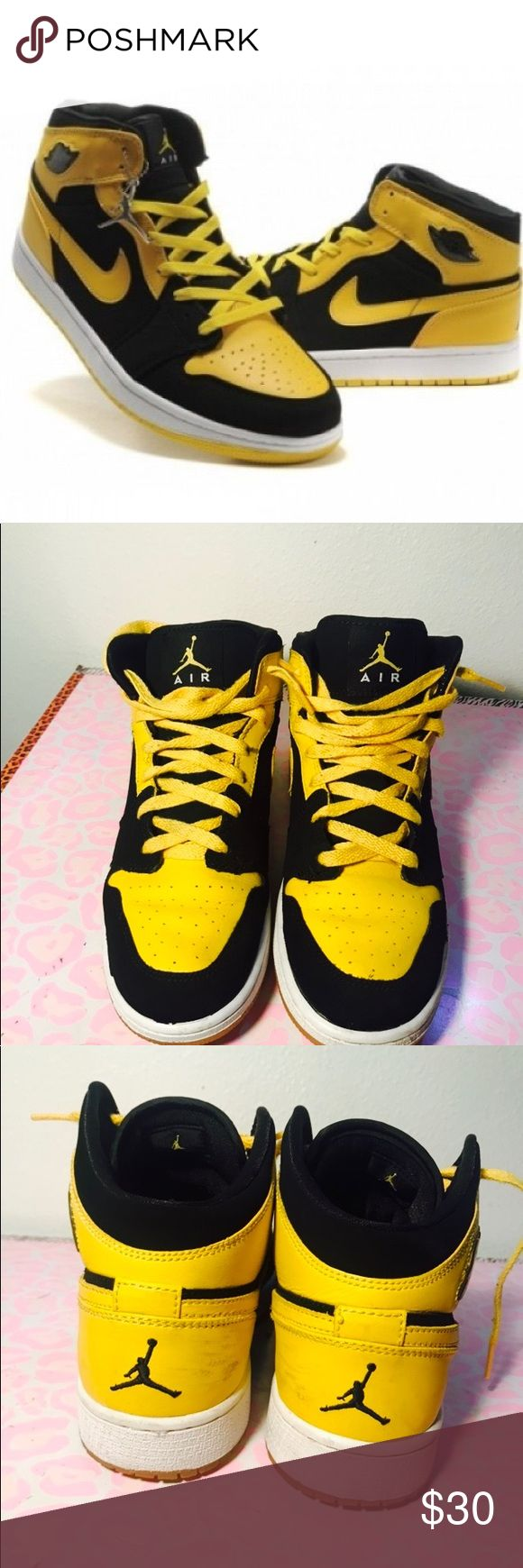 Air Jordan 1 Retro Black/Maise BMP PRICE IS FIRM! Authentic Nike Air Jordan 1 Retro. 'Old Love, New Love' BMP. Slight sole separation that can be easily fixed. Overall still has a lot of life left. No box. Size is 6Y or 7.5 in women's. Color is Black and vibrant yellow. Will clean before shipping out. Priced to sell. Air Jordan Shoes Athletic Shoes