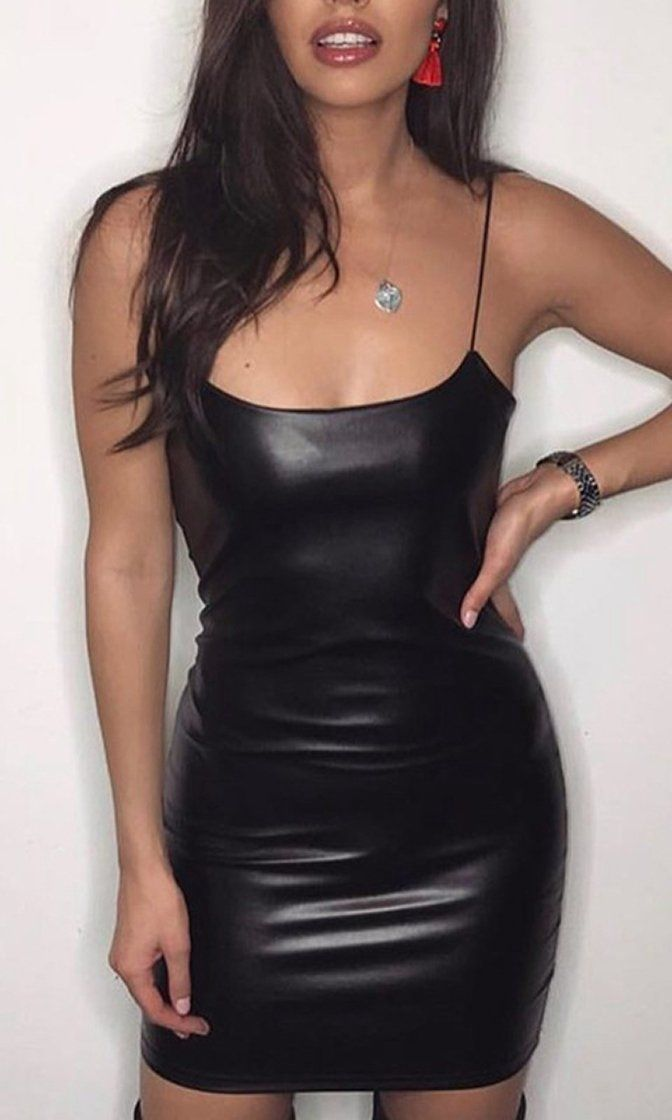 a37cfd1fa5 You'll Never Get Me Black PU Faux Leather Sleeveless Spaghetti Strap Scoop  Neck Bodycon Mini Dress