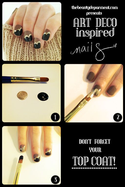 art deco inspired nails.Nails Art, Gold Nails, Fall Nails, Nails Design, Nails Polish, Black Gold, Art Deco Nails, Art Nails, Nails Tutorials