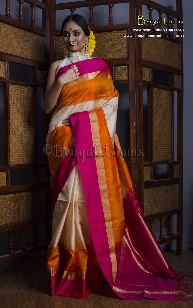 Pure Handloom Kanchipuram Soft Silk Saree in Cream, Orange and Rani