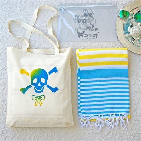 Kuru Kafa Baskılı Plaj Seti - Ebat: Plaj Çantası 37x45 cm Peştemal 90x180 cm Bikini Çantası  20x30 cm Renk: Plaj Çantası Keten Krem&Baskılı