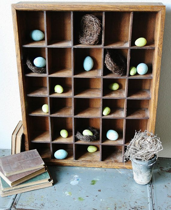 Vintage Wood Cubby Shelf