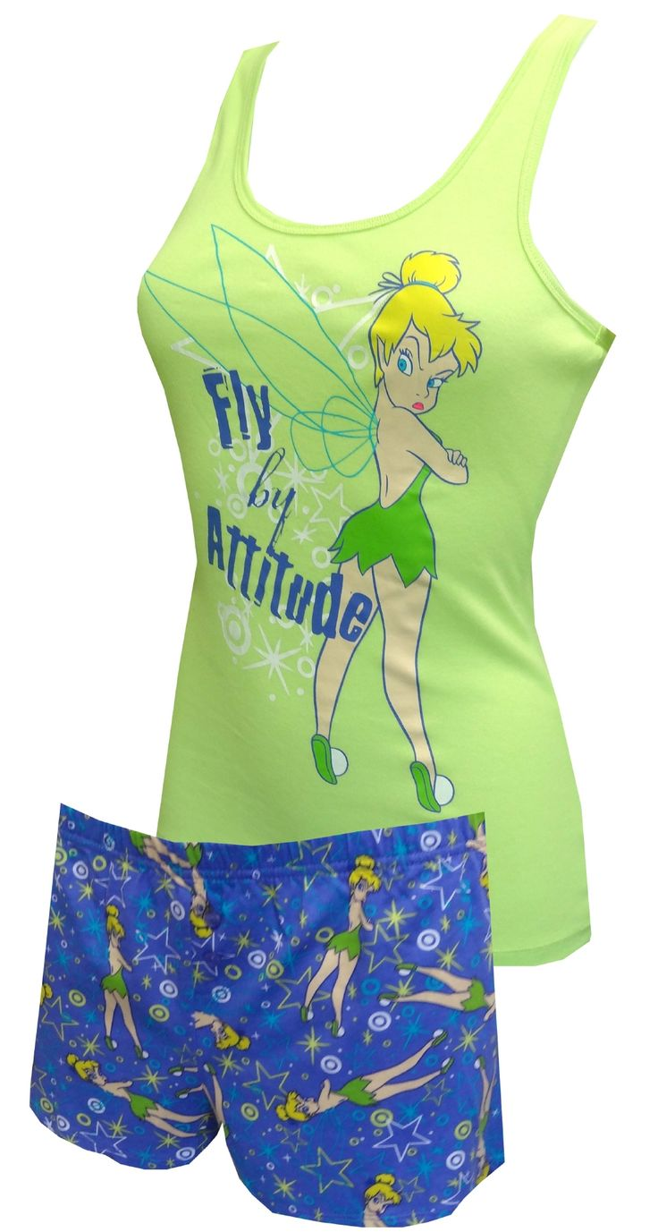 Disney Tinkerbell Fly By Attitude Sleep Set, $25  Don't mess with this fairy! These pajama sets for juniors feature Disney's Tinkerbell on a tank style top delaring 'Fly By Attitude'. Co-ordinating ealstic waist sleep shorts have an all-over print of the same graphic. Machine washable and easy care. Junior cut.