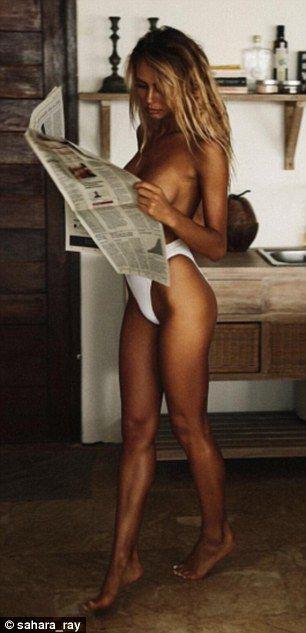 Her own best advert! Sahara often models her own bikini designs in her racy Instagram photos