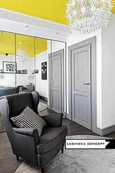 LESINSKA CONCEPT ; YELLOW, GRAY, BLACK AND WHITE IN BEDROOM - GRAPHIC INTERIOR