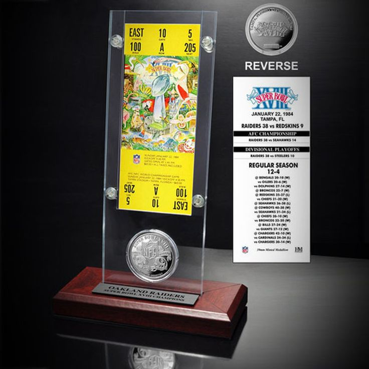Oakland Raiders Super Bowl XVIII Ticket and Game Coin Acrylic Display