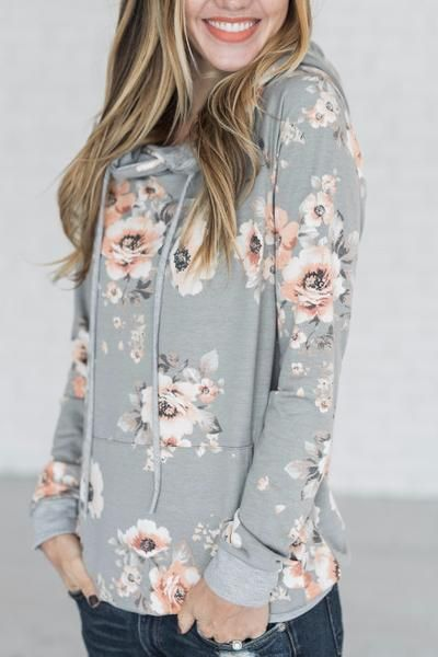 Hailey Hoodie - Heather Grey  \\  cute hoodie, fall outfit, easy outfit idea, comfy, hoodie, sweatshirt, boutique, grey floral hoodie, casual outfit