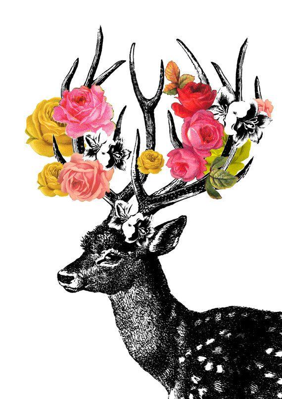 DEER LARGE ARCHIVAL print 13x 19 inches - art print digital - deer and flowers