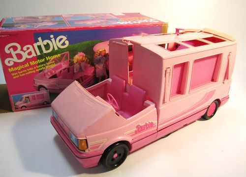 Then in the 90's I upgraded to the Pink Barbie Van!