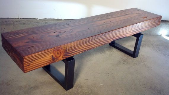 Rustic & Industrial Entryway Bench with Solid Wood Beam and Metal Legs (Laurelwood entry Bench)