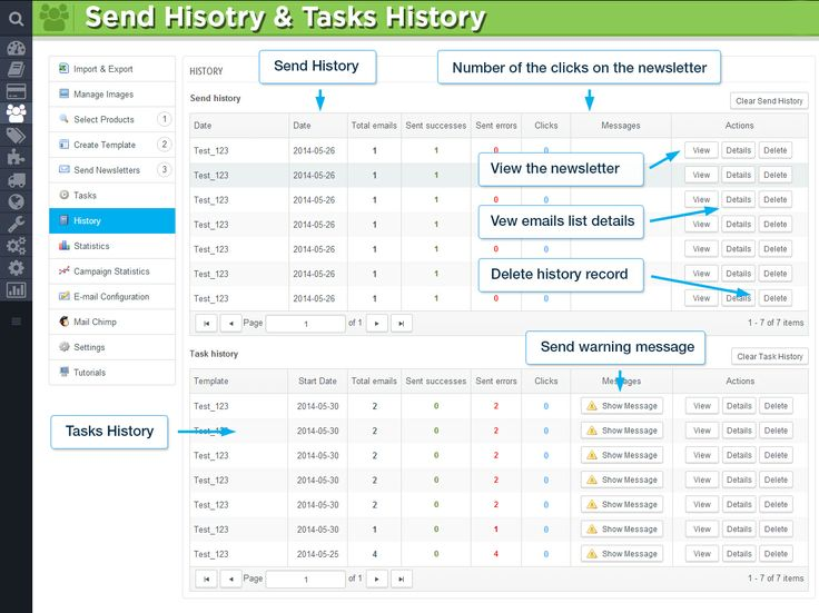 Send History   Tasks History. Number of the clicks on the newsletter. View the newsletter. View emails list details. Delete history record. Send warning message.
