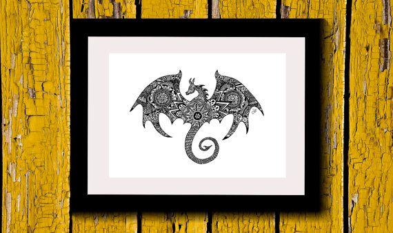 Wall Art,Drawing,Illustration,Zentangle,Art,Print,Home Decor,Magical,Spiritual,Mystical,Modern,Gift Idea,Original Illustration,Dragon