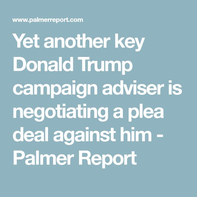 Yet another key Donald Trump campaign adviser is negotiating a plea deal against him - Palmer Report