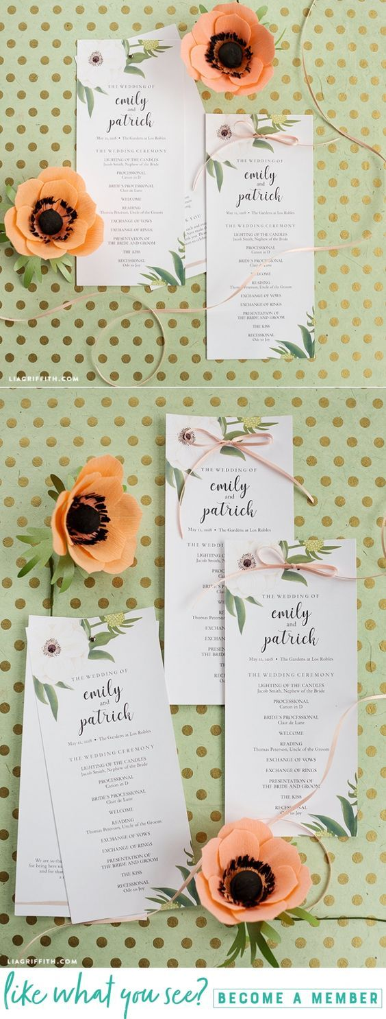 Download and print these pretty anemone wedding programs - Lia Griffith - www.liagriffith.com #paper #paperart #paperlove #printable #printables #diywedding #weddings #diyidea #diyideas #diyinspiration #madewithlia