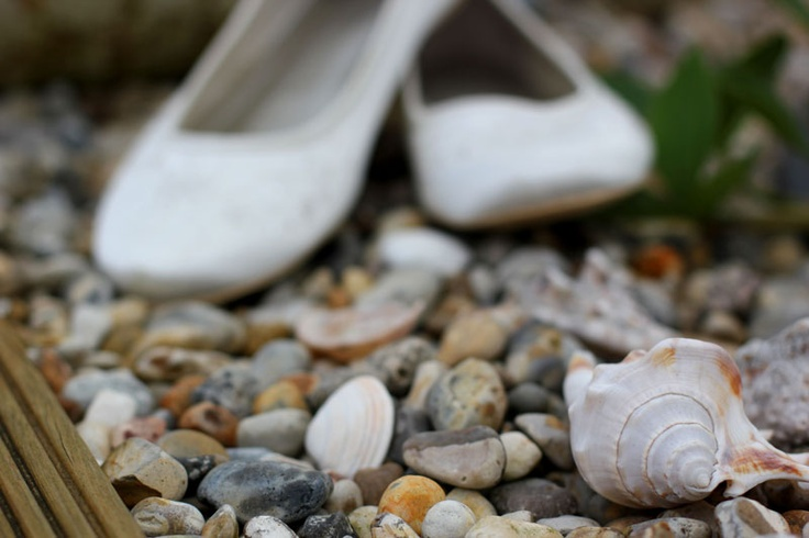 Lauren's shoes in the stones