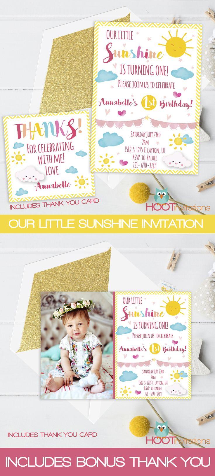 Little Sunshine invitation Printable - My only sunshine - Sunshine theme party - You are my sunshine - Sunshine party - Sunshine birthday by HOOTinvitations