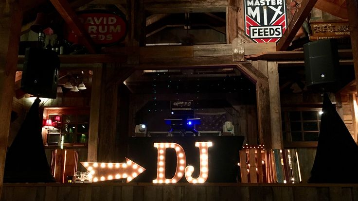 The perfect Wedding package for rustic venues, barn receptions, or woodsy decor! The vintage Marquee DJ package with light filled wood crates is a hit for fall events! Ask for details! #fonixentertainment #marquee #wood #wedding #decor #DJ