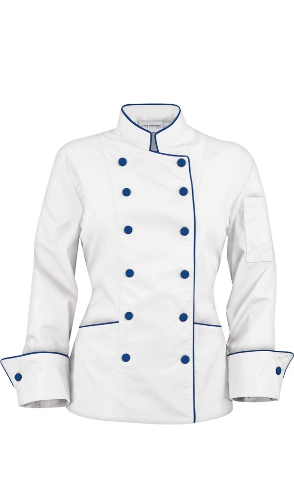 Women's Traditional Chef Coats - Contrast Piping - Fabric Covered Buttons - 65/35 Poly/Cotton $29.99 http://www.chefuniforms.com/chef-coats/womens-chef-coats/contrast-chef-coat.asp?frmcolor=whibl