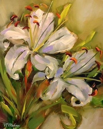 Last Bloom White Lilies by Texas Flower Artist Nancy Medina, painting by artist Nancy Medina