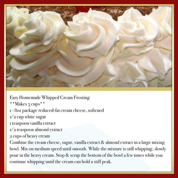 Easy Homemade Whipped Cream Frosting This is so delicious. It won't melt at room temperature like regular whipped cream. It's very stable. It's wonderful used for frosting a cake or even dipping fruit in it! Not too sweet. Very versatile. Found on Hillbilly Recipes from Facebook.