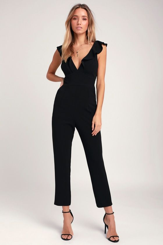 58ed53f05a1e The Lulus Leilani Black Ruffled Jumpsuit is always on the VIP list! Ruffled  shoulder straps carry into a ruffled deep V-neckline. Tapered pant legs.