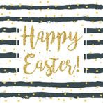 Happy Easter greeting card with stripes and glittering text.