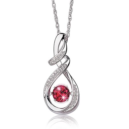 Beats of Love Created Ruby & Diamond Twist Drop Pendant in Sterling Silver