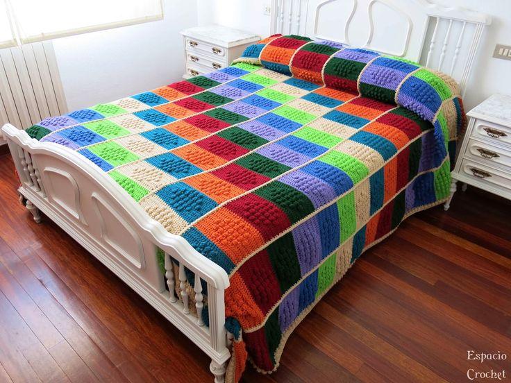 10 im genes sobre crochet colchas cojines en - Aplicaciones de crochet para colchas ...