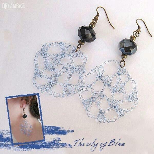 The city of blue! Royal blue earrings, wire crochet jewllery