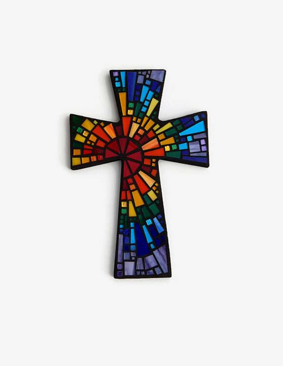 "Mosaic Wall Cross, Large, Black with Rainbow Glass, ""Blessed"", Handmade Stained Glass Mosaic Cross Wall Decor, 15"" x 10"" by Dana Hess ~ The Green Banana Mosaic Company"