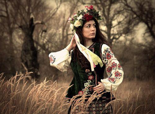 Ukranian girl in traditional dress.