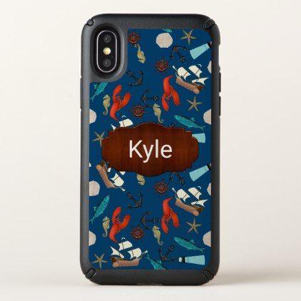 Nautical Pattern Personalized Speck iPhone X Case - pattern sample design template diy cyo customize