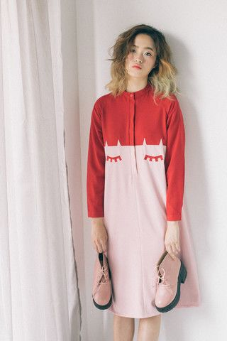 Face Detail Shirt Dress Pink