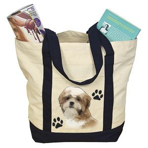 """Product # DC30006 - Lets everyone know the object of your canine devotion! Roomy, over-the-shoulder carry bag is made of durable cotton canvas and features a beautiful image of a Shih Tzu. Bag has exterior slash pocket, zippered top closure and is made from 100% natural cotton. 18"""" W x 14"""" H x 7"""" D  $14.98"""