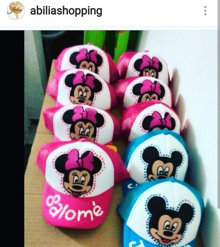 Gorras personalizadas Minnie y Mickey Pintado a mano Abilia shopping Whatsapp 3132196957