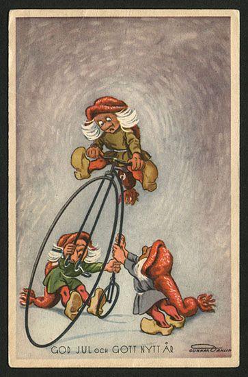 Julkort av Gunnar Dahlin. Stämplat år 1940.