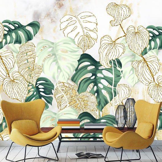 Pastel Colors Leaves Wallpaper Tropical Big Leaf Wall Mural Etsy Leaf Wallpaper Wallpaper Tropical Wallpaper