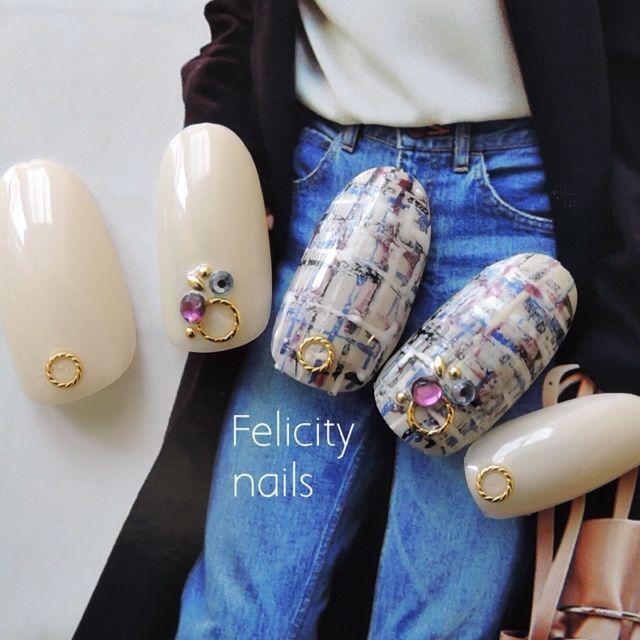 ネイル 画像 Felicity nails神戸 鈴蘭台 1214710 ベージュ ブルー レッド ツイード 秋 ソフトジェル ハンド
