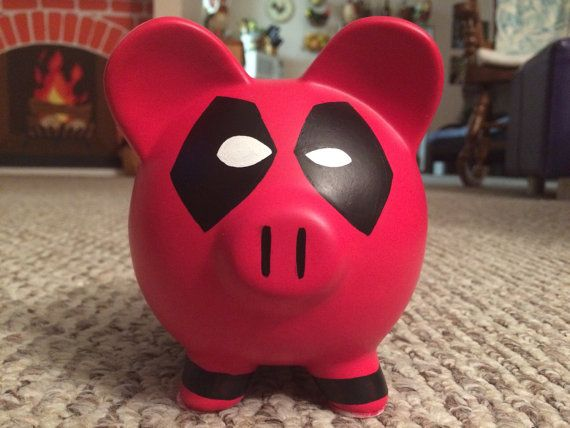 READY TO SHIP Deadpool Hand Painted Ceramic Piggy by KaleyCrafts