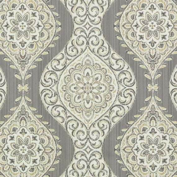Silver Grey Medallion Upholstery Fabric - Contemporary Ogee Grey Yellow Curtain Fabrics - Large Scale Drapery - Medallion Throw Pillows